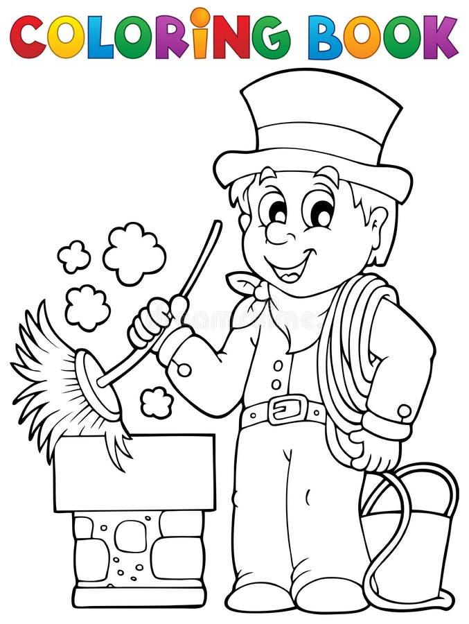 Vassoura da chaminé do livro para colorir ilustração stock