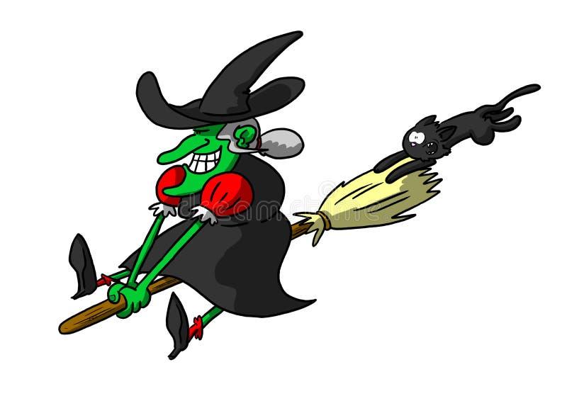 Vassoura da equitação da bruxa com gato no reboque ilustração stock
