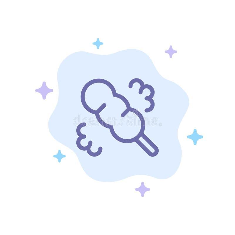 Vassoura, espanador, ícone azul da lavagem no fundo abstrato da nuvem ilustração royalty free