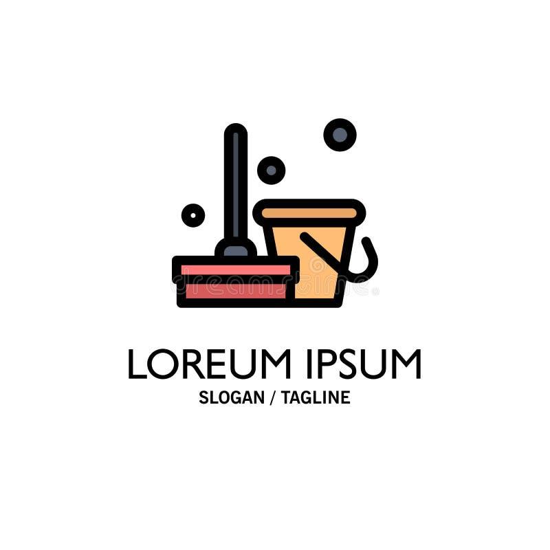 Vassoura, limpa, limpeza, negócio Logo Template da varredura cor lisa ilustração stock