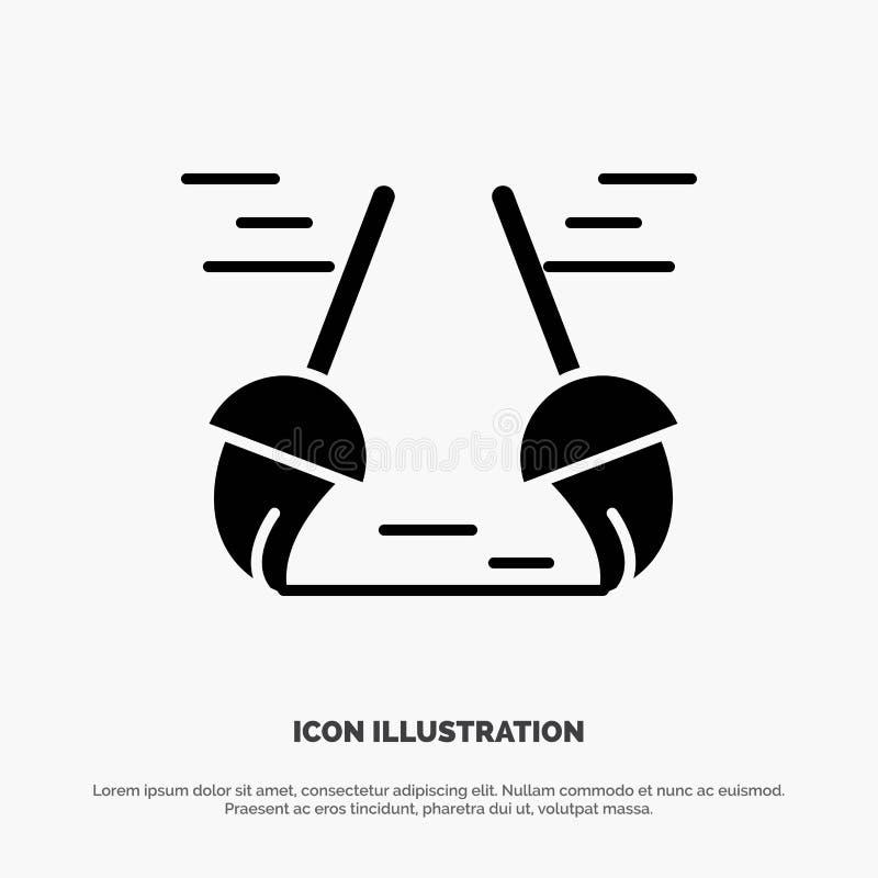 Vassoura, limpa, limpeza, vetor contínuo do ícone do Glyph da varredura ilustração stock