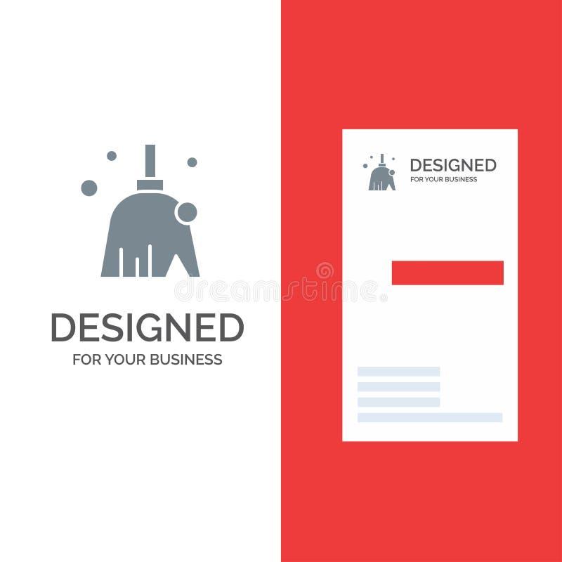 Vassoura, limpo, limpeza, varredura Grey Logo Design e molde do cartão ilustração do vetor