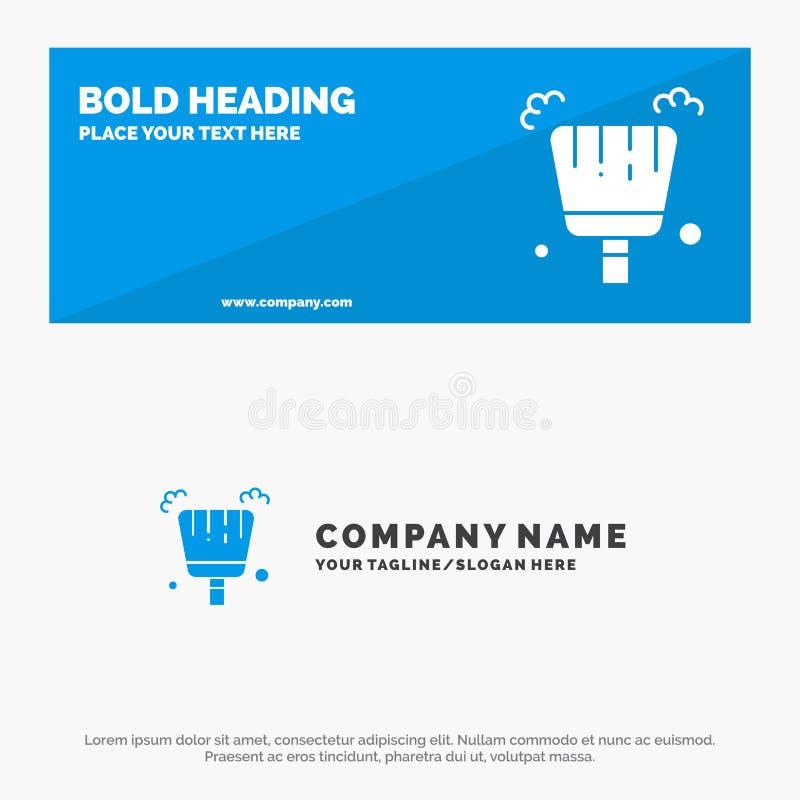 Vassoura, pá-de-lixo, bandeira contínua do Web site do ícone da varredura e negócio Logo Template ilustração do vetor