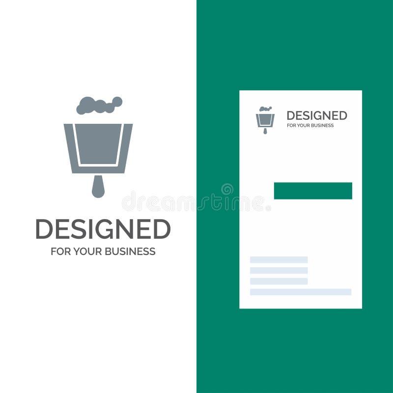 Vassoura, pá-de-lixo, varredura Grey Logo Design e molde do cartão ilustração stock