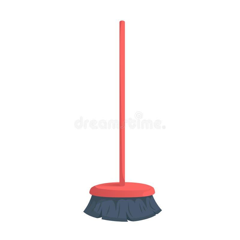 Vassoura plástica vermelha na moda da cerda dos desenhos animados com ícone da vara Higiene e ilustração home do vetor da limpeza ilustração do vetor