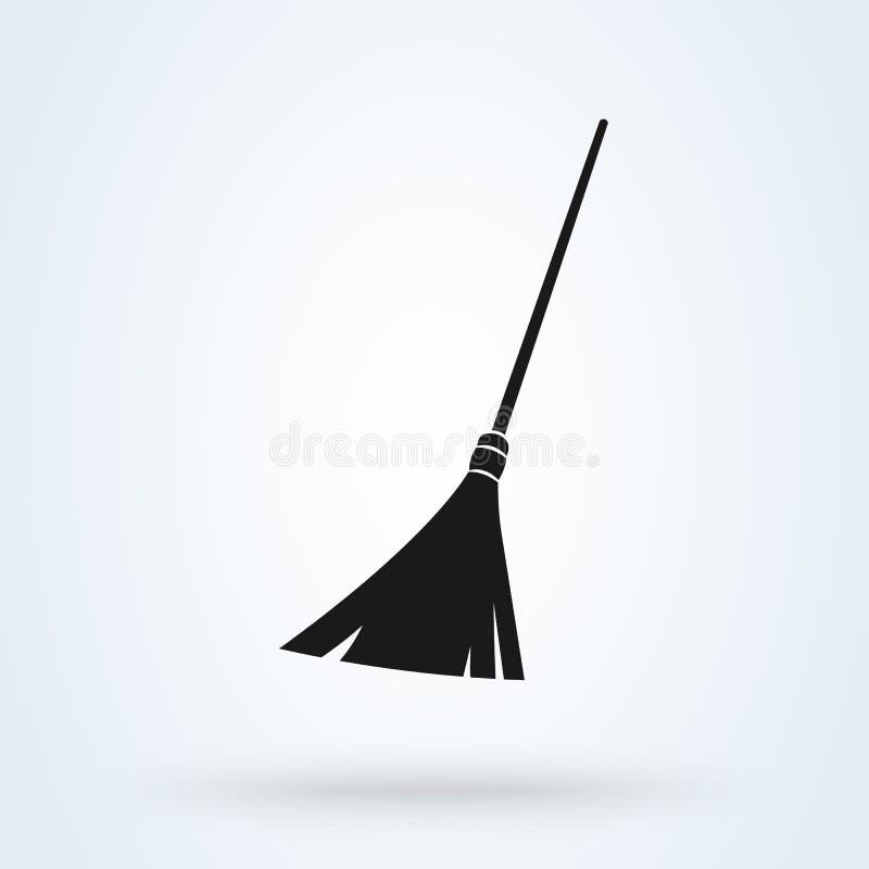 Vassoura que limpa a ilustração moderna do projeto do ícone do vetor simples ilustração do vetor