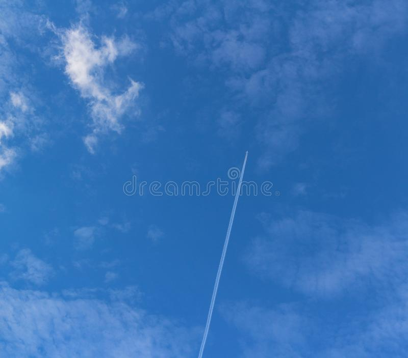 The vast blue sky and clouds lies above surface Earth atmosphere stock images