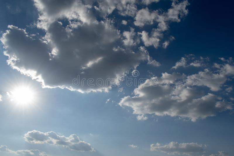 The vast blue sky and clouds sky stock images