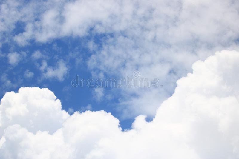 Vast blue sky and cloudy stock photography