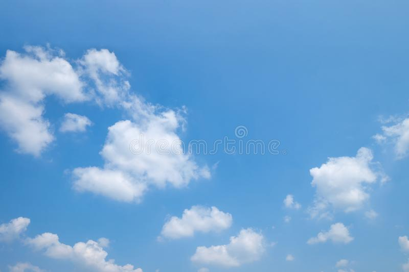 The vast clear blue sky and beautiful clouds on good weather in the morning. Background nature landscape stock image