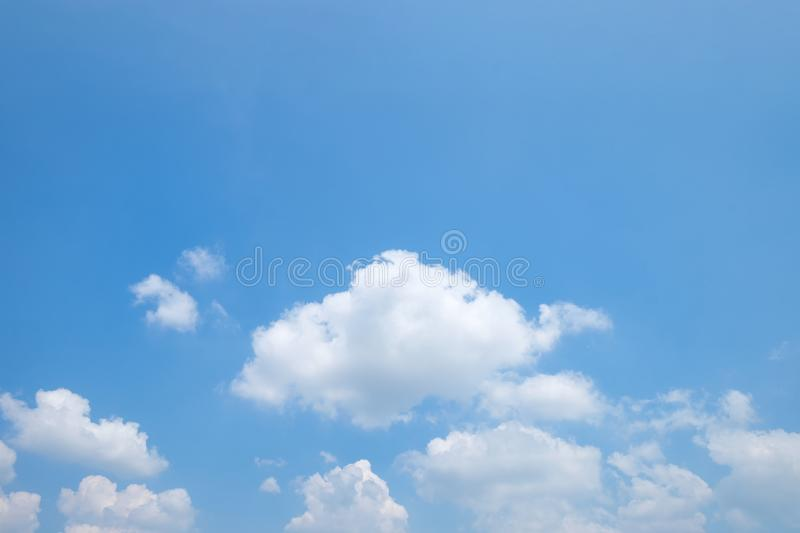 The vast clear blue sky and beautiful clouds on good weather in the morning. Background nature landscape stock photography