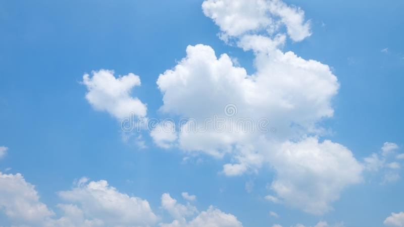 The vast clear blue sky and beautiful clouds on good weather in the morning. Background nature landscape royalty free stock photography
