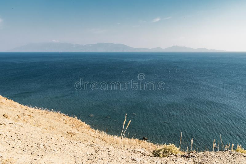 Vast Turquoise Sea View From Cliff royalty free stock image