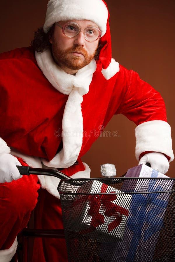 Vastberaden Kerstman stock foto's