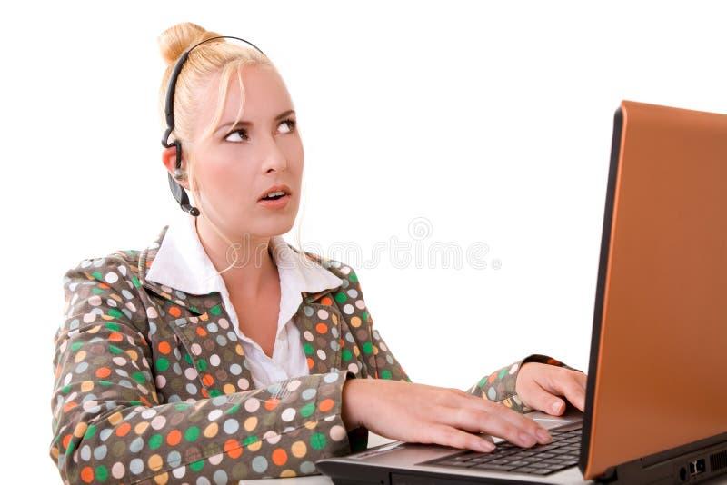 Vastbesloten het luisteren stock foto