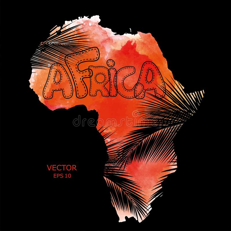 Vasteland Afrika met palmbladtextuur Vector illustratie Geweven vectorkaart van Afrika Stammen Achtergrond abstracte achtergrond stock illustratie