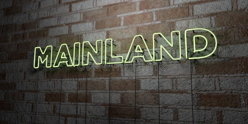 VASTELAND - Gloeiend Neonteken op metselwerkmuur - 3D teruggegeven royalty vrije voorraadillustratie stock illustratie