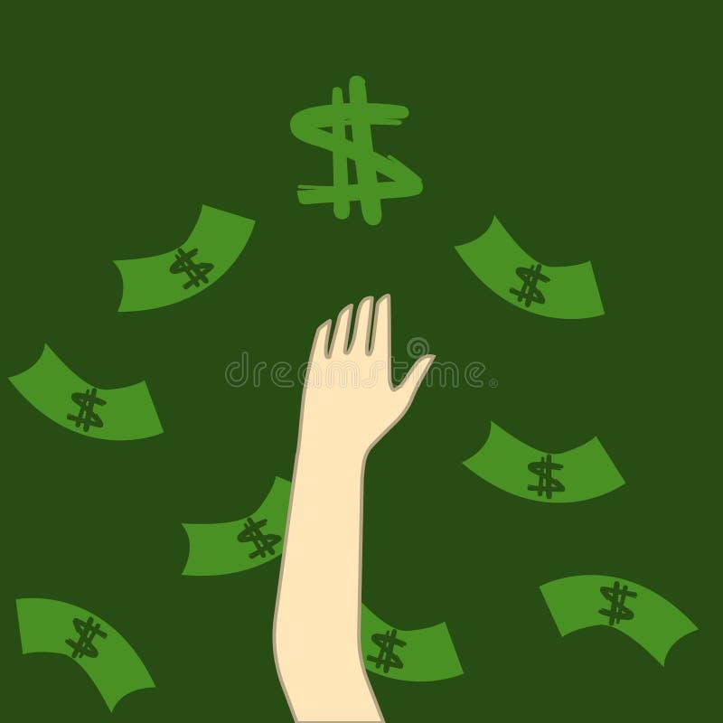 Vastgehaakt geld en het bereiken van handen Motivatie of illusie Conceptuele illustratie geschikt om te adverteren en bevordering royalty-vrije illustratie