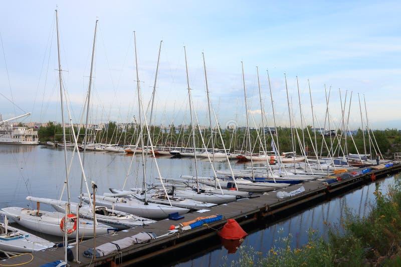 Vastgelegde jachten van Draakklasse op vooravond van regatta stock foto