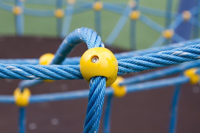 Vastgelopen blauwe kabel stock foto's