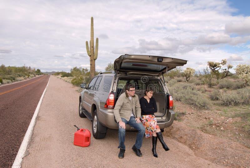 Vastgelopen en uit gas stock fotografie
