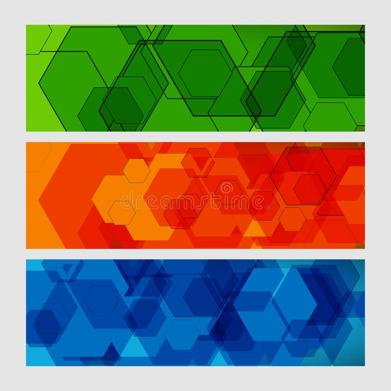 Vastgesteld abstract modern patroon van zeshoekenkringen royalty-vrije illustratie