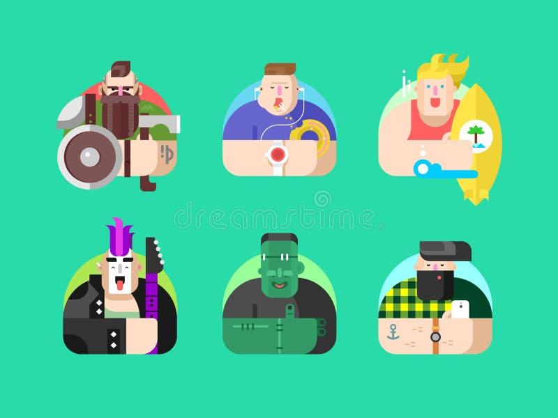 Vastgesteld avatar vlak ontwerp royalty-vrije illustratie