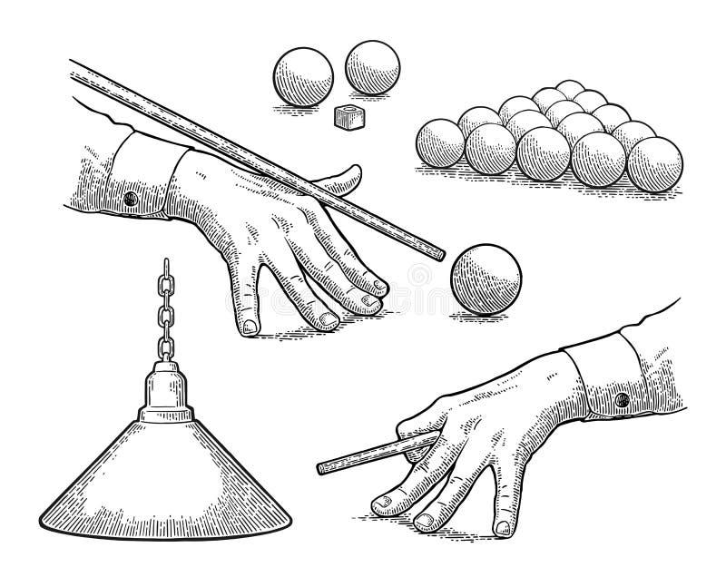 Vastgesteld biljart Ballen, krijt, lamp, hand gestreefd richtsnoer vector illustratie