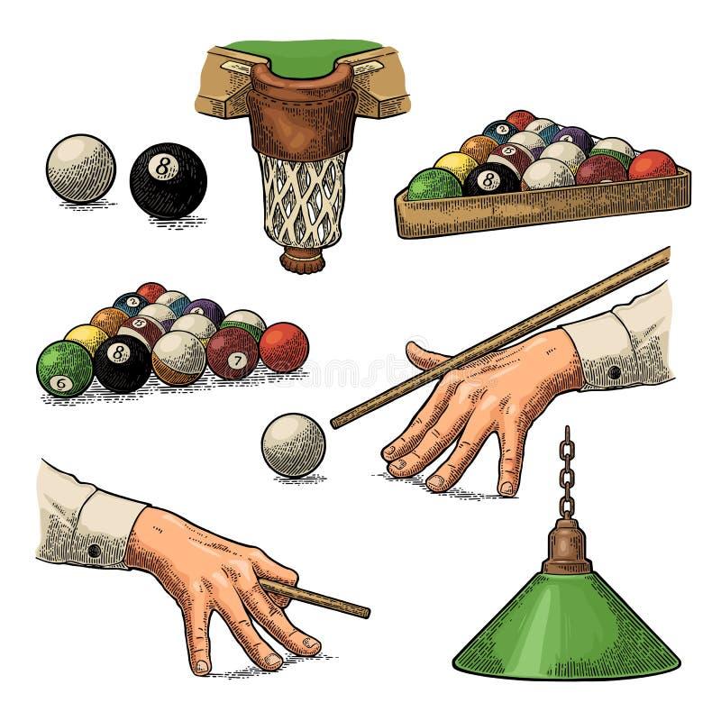 Vastgesteld biljart Stok, ballen, krijt, zak en lamp Uitstekende zwarte gravure vector illustratie