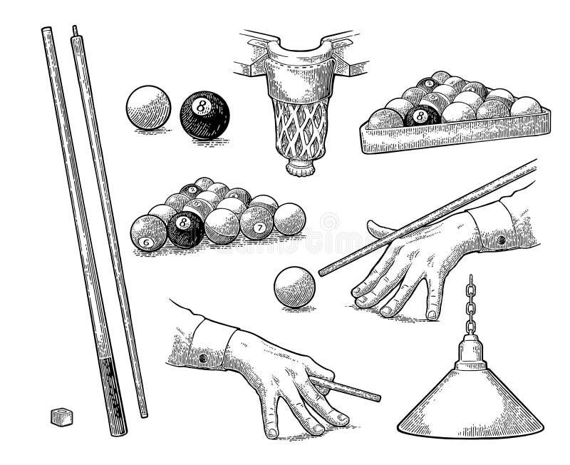 Vastgesteld biljart Stok, ballen, krijt, zak en lamp Uitstekende zwarte gravure stock illustratie