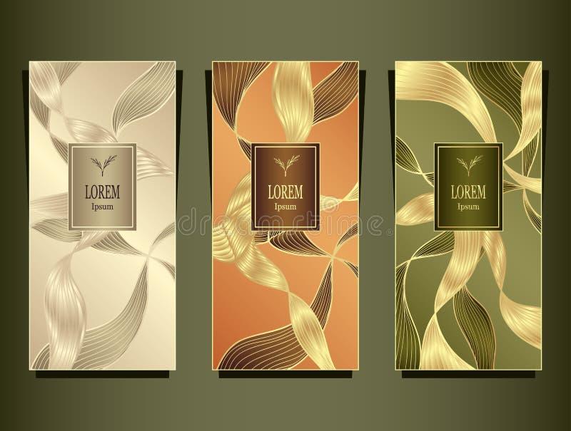 Vastgesteld die Malplaatje voor pakket van Luxeachtergrond door folie in beige peachy olijf wordt gemaakt stock illustratie