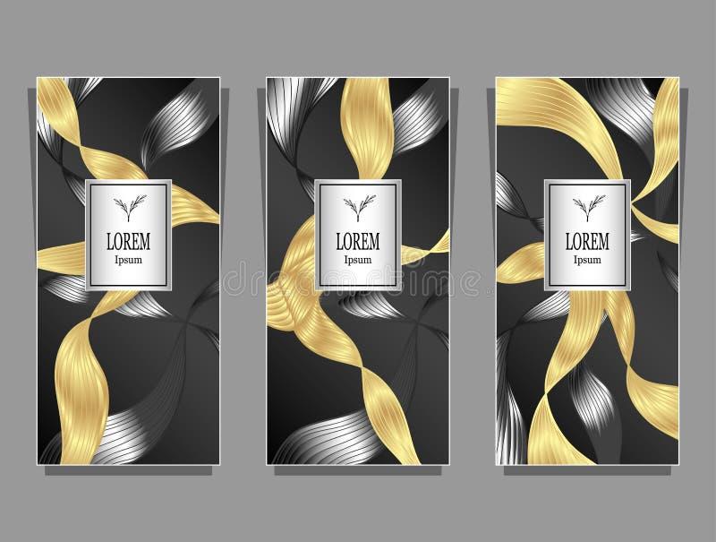 Vastgesteld die Malplaatje voor pakket van Luxeachtergrond door folie in zwart gouden zilver wordt gemaakt vector illustratie