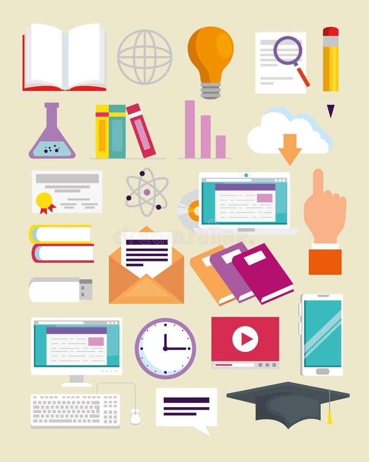 Vastgesteld elearning kennisonderwijs aan studie online stock illustratie