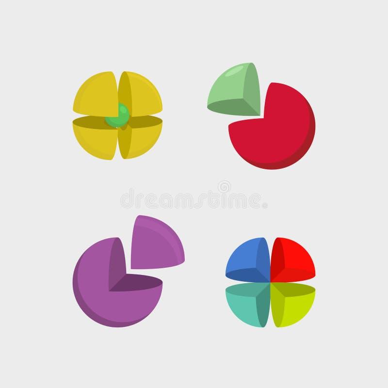Vastgesteld embleemgebied 3d abstracte balemblemen Werkingsgebied van segmenten Ve royalty-vrije illustratie