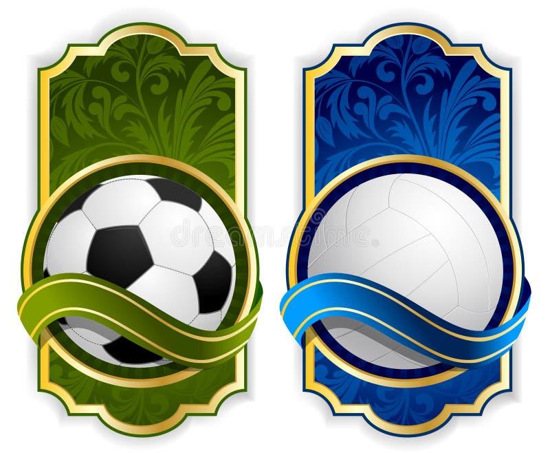 Vastgesteld etiket met ballen vector illustratie