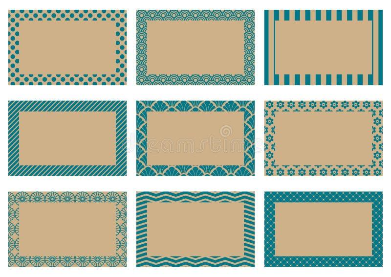 Vastgesteld Etiket met Verschillend Beige en Donkerblauw Patroon royalty-vrije illustratie