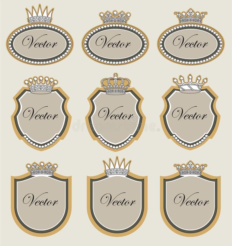 Vastgesteld frame met kronen vector illustratie
