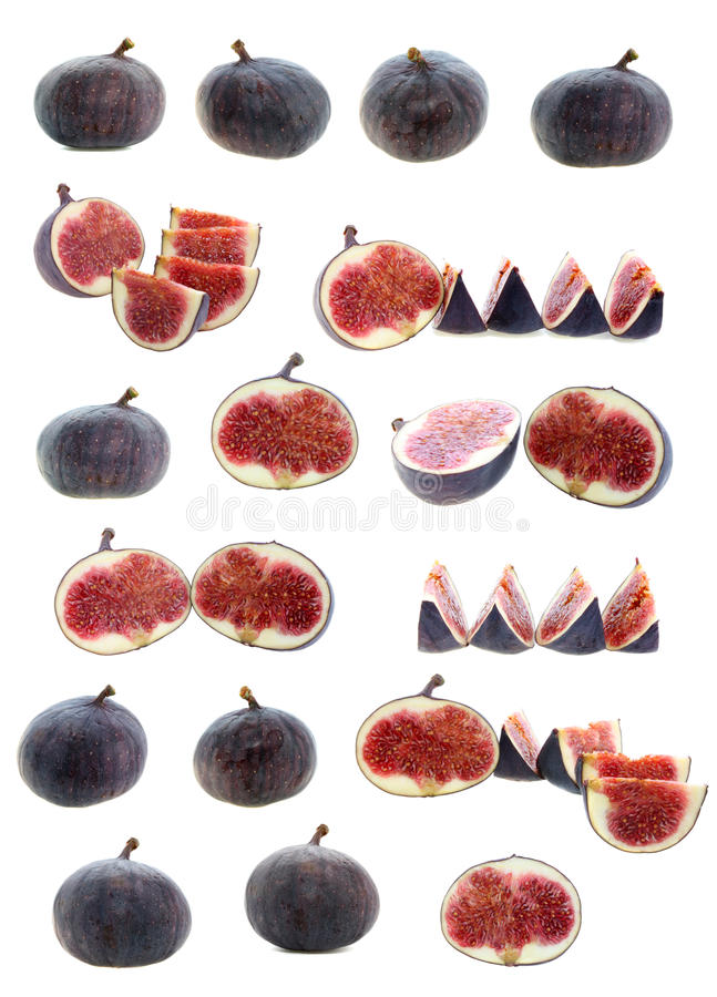 Vastgesteld geïsoleerde fruitfig. stock afbeelding