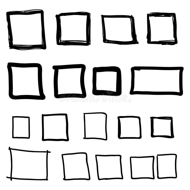 Vastgesteld hand getrokken vierkant vector illustratie