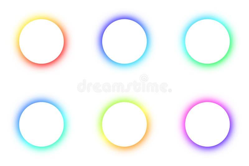 Vastgesteld Helder gekleurd patroon om het gloeien verschillende kleuren van de inzameling van het knopenneon, de ruimte voor de  stock illustratie