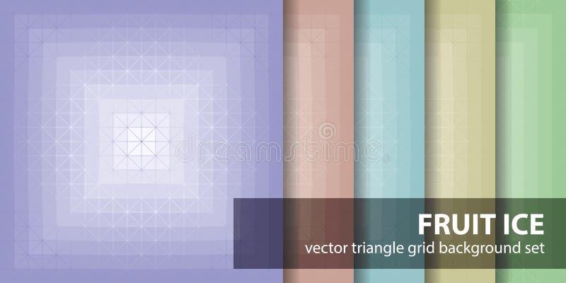 Vastgesteld het Fruitijs van het driehoekspatroon Vector naadloze achtergronden vector illustratie