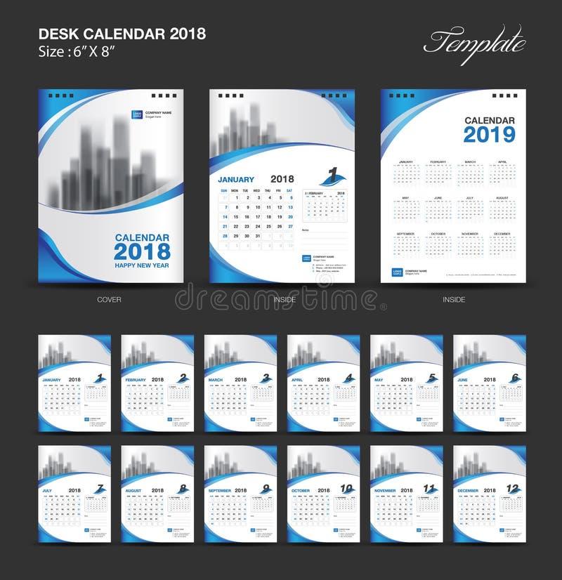 Vastgesteld het malplaatjeontwerp van de Bureaukalender 2018, blauwe dekking, Reeks van 12 Maanden vector illustratie