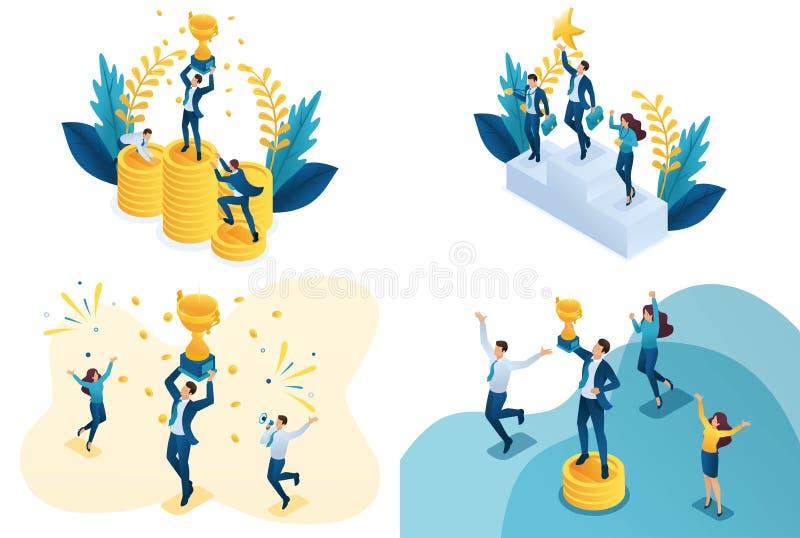 Vastgesteld isometrisch concept het bereiken van doel Moderne illustratieconcepten voor website en mobiele websiteontwikkeling royalty-vrije illustratie