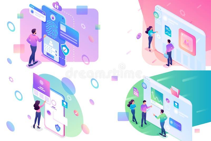 Vastgesteld isometrisch concept, jonge tieners die aan een tablet en aan het mobiel telefoonscherm werken concepten voor website  stock illustratie