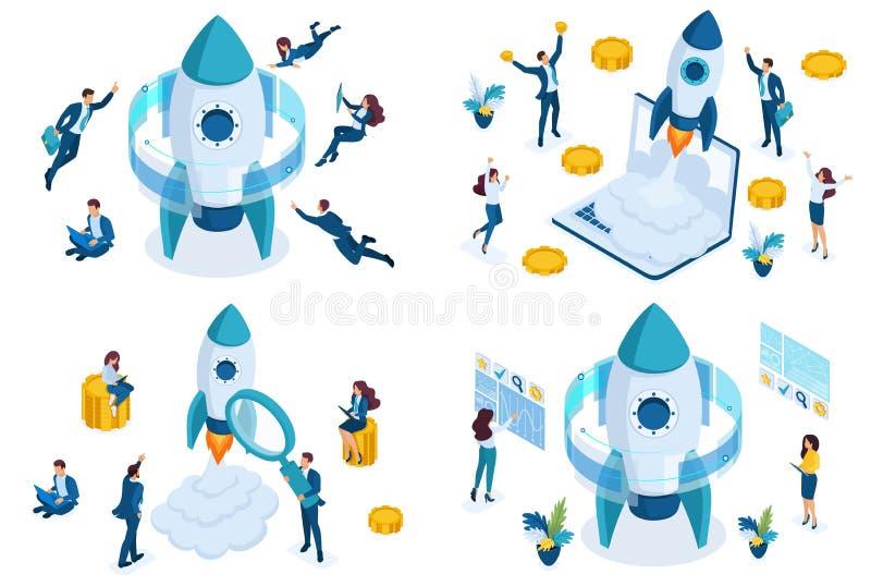 Vastgesteld isometrisch conceptenopstarten, bedrijfsprojecten door jonge ondernemers, raket die omhoog vliegen Om Webtoepassingen stock illustratie