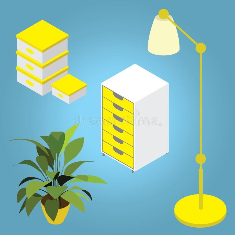 Vastgesteld isometrisch meubilair vector illustratie