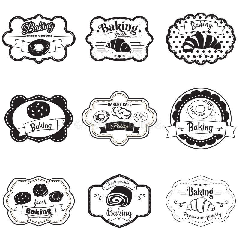 Vastgesteld kadersgebakje, croissant, broodje, brood, illustratie, vector vector illustratie