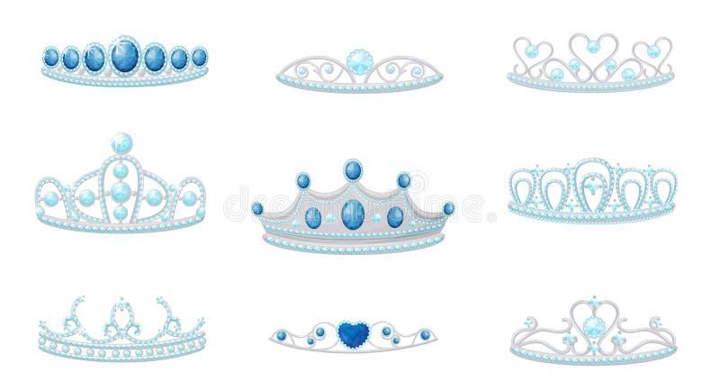Vastgesteld kronenbeeld Vector illustratie op witte achtergrond royalty-vrije illustratie