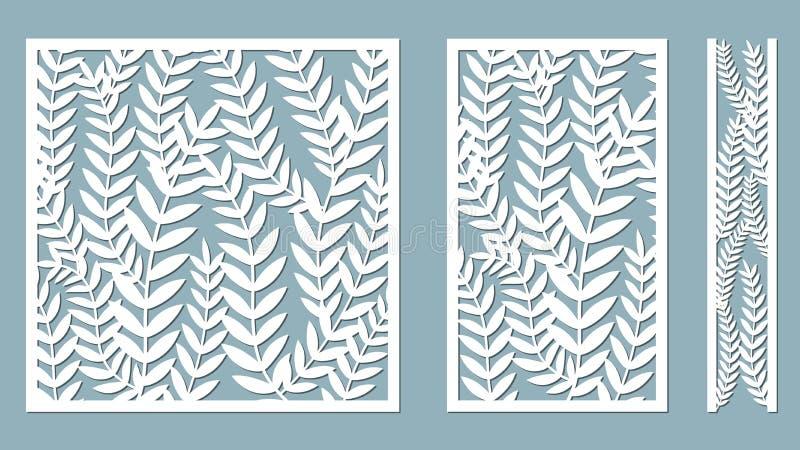 Vastgesteld malplaatje voor knipsel De varen verlaat patroon Laserbesnoeiing Vector illustratie Patroon voor de laserbesnoeiing,  vector illustratie