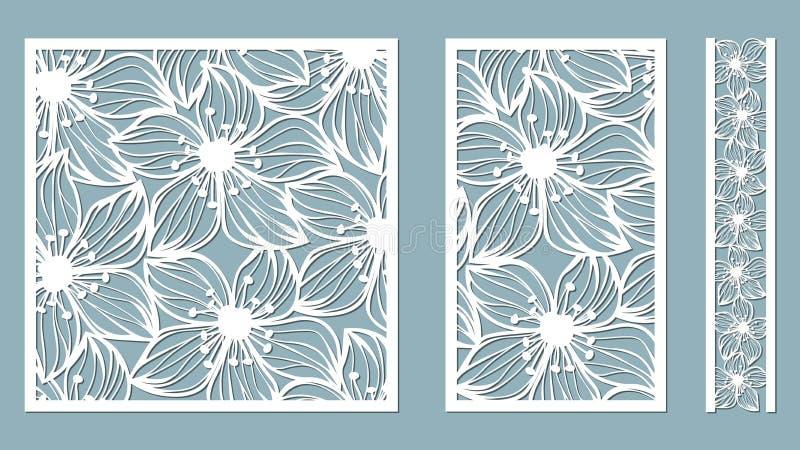 Vastgesteld malplaatje voor laserknipsel en Plotter Bloemen, bladeren voor decoratie Vector illustratie Sticker vastgestelde Orch stock illustratie